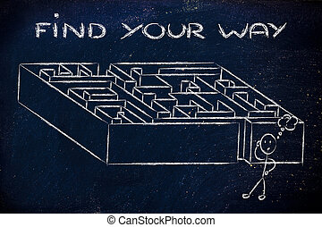 metáfora, labirinto, design:, achar, seu, maneira
