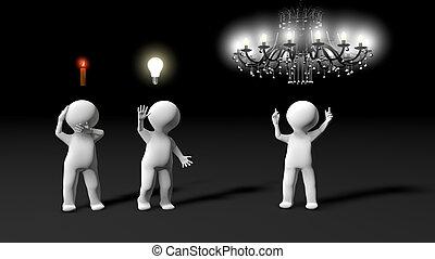 metáfora, mostrando, ideas., brainstorming, sessão, durante, vários