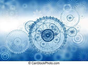 metáfora negócio, antiga, mecanismo, clockwork