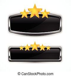 metálico, ícone, com, estrelas