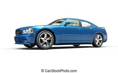 metálico, brillante azul, rápido, coche