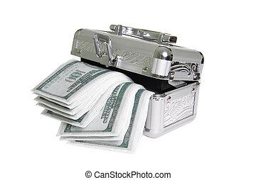 metálico, caixão, com, fraude, dinheiro