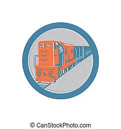 metálico, diesel, trem, círculo, retro