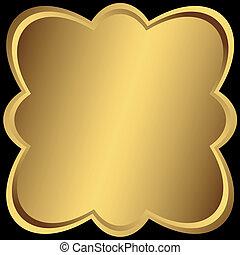 metálico, dorado, simétrico, marco