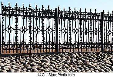 metálico, fence.