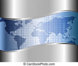 metálico, fundo, com, um, mapa, de, mundo