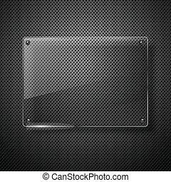 metálico, fundo, com, vidro, framework., vetorial, illustration.