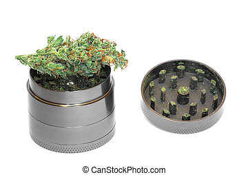 metálico, gris, amoladora, con, brotes, de, marijuana, mala hierba, cannabis, aislado, blanco, plano de fondo