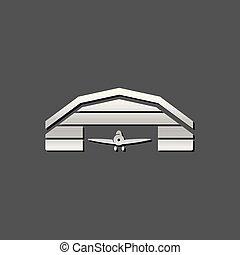 metálico, icono, -, hangar de avión