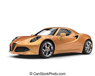 metálico, oro, lujo, coche deportivo