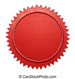metálico, vermelho, selo