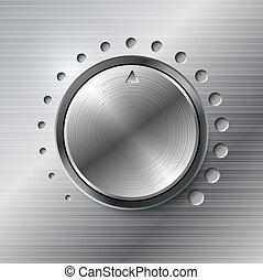metálico, volume, girar, knob.