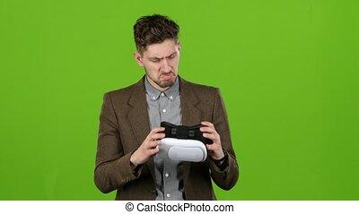 met, écran, virtuel, vert, homme affaires, type, reality., lunettes