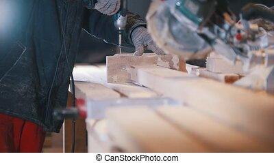 met, bois, menuiserie, ouvrier, charpentier, planche, vis