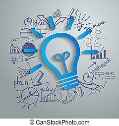 met, creatief, tekening, diagrammen, en, gr