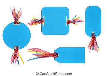 met de hand gemaakt papieren, markeringen, met, kleurrijke, lint