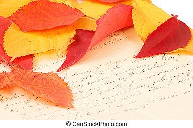 met de hand geschreven brief, met, autumn leaves