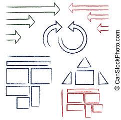 met de hand geschreven, symbolen