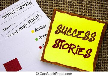 met de hand geschreven, tekst, meldingsbord, het tonen, succes, stories., handel concept, voor, succesvolle , inspiratie, prestatie, opleiding, groei, geschreven, op, memo , papier, met, hitte, kaart, op, textured, achtergrond