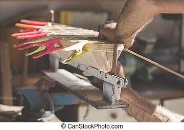 met de handen vervaardigd, craftwork, van, een, houten boot,...