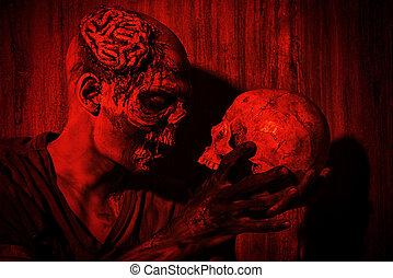 met, een, schedel