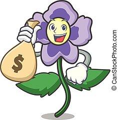 met, geld zak, viooltje, bloem, karakter, spotprent