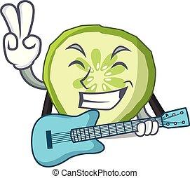 met, gitaar, mascotte, snede, komkommer, om te koken, groente