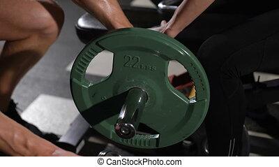 met, poids, athlète, culturiste, joli, communique, barbell.