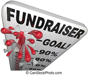 meta, éxito, fundraiser, pistas, termómetro, alcanzado