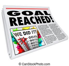 meta, éxito, titular, porcentaje, alcanzado, periódico, ...