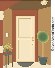 meta, abstrakt, hänrycka, dörröppning