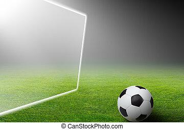 meta, bola futebol, holofote