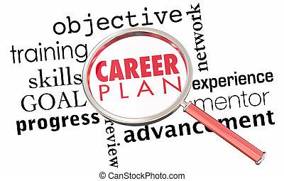 meta, carreira, vidro, trabalho, animação, plano, promoção, emprego, magnificar, 3d