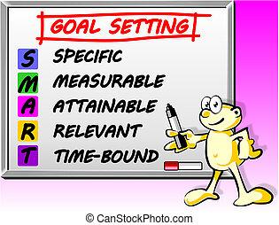 meta, concepto, ajuste, elegante, whiteboard