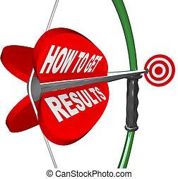 meta, conseguir, resultados, arco, cómo, flecha, blanco
