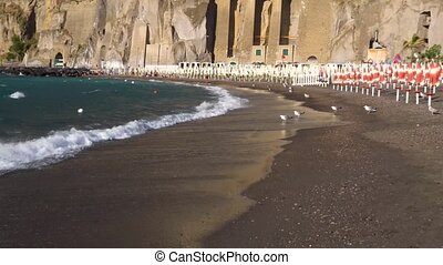 Meta di Sorrento, southern Italy - beach and waterfront of...
