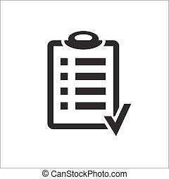 meta, encima, lista, cheque, fondo., portapapeles, diseño, tabla, acción, icon., icono, blanco, plan