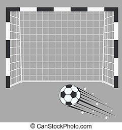 meta, football goalpost, experiência., estádio, rede, futebol