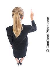 meta högt, baksidaen beskådar, av, blondin, affärsverksamhet kvinna, pekande