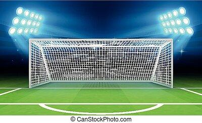meta, ilustração, esportes, vetorial, estádio, futebol