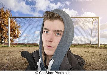 meta, jovem, frente, retrato, futebol, homem