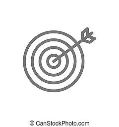 meta, negócio, escolha, linha, icon., alvo