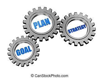 meta, plan, y, estrategia, en, plata, gris, engranajes