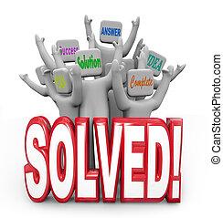 meta, resolvido, pessoas, solução, alegrando, plano, resposta, atingido