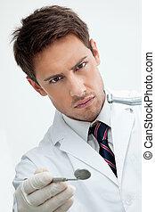 meta, tandläkare, drill, holdingen, spegel
