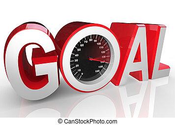 meta, velocímetro, rápidamente, carreras, a, éxito, logro