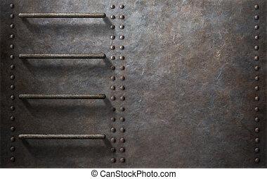 metaal, achtergrond, bovenkant, duikboot, trap