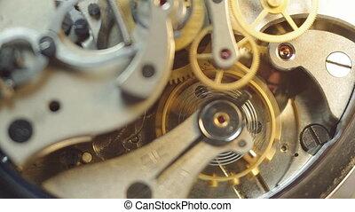 metaal, binnen, tandwielen, clockwork.