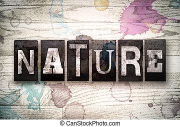metaal, concept, type, letterpress, natuur