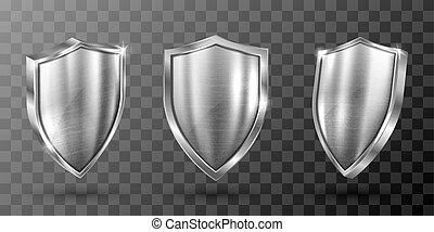 metaal, frame, staal, realistisch, schild